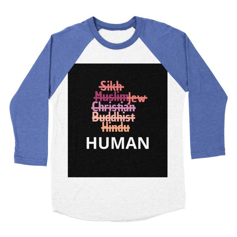 HUMAN Women's Baseball Triblend Longsleeve T-Shirt by Rational Tees
