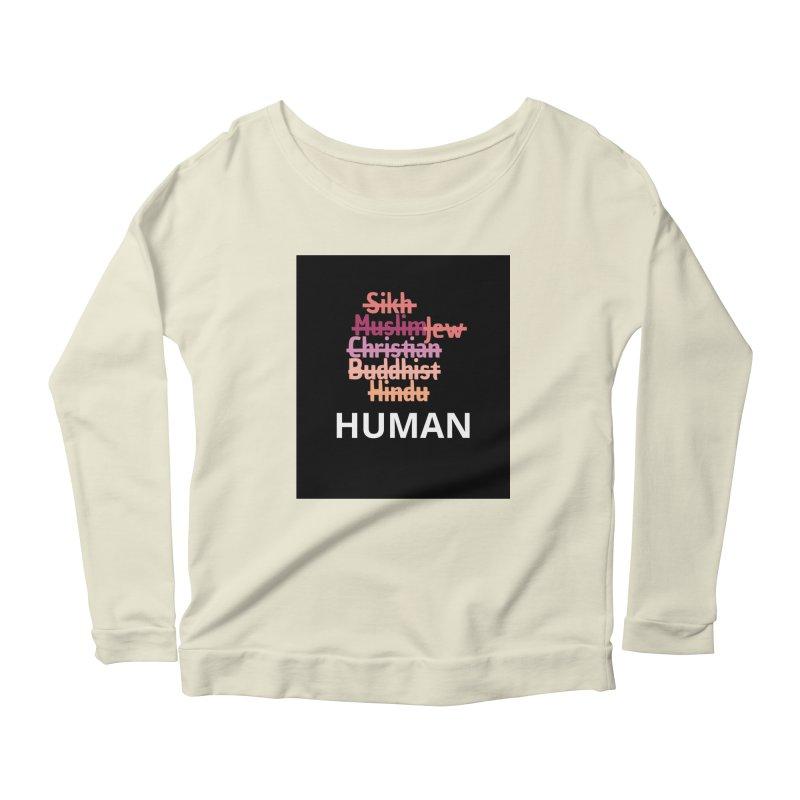 HUMAN Women's Scoop Neck Longsleeve T-Shirt by Rational Tees