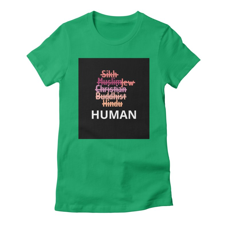 HUMAN Women's Fitted T-Shirt by Rational Tees