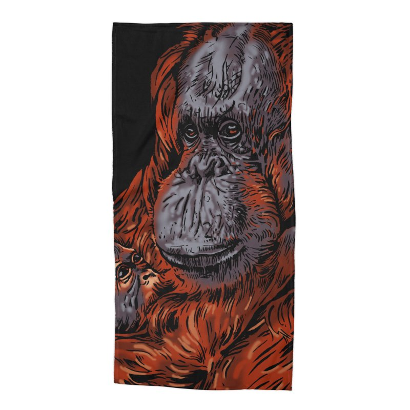 Schizo Pop Orangutan Accessories Beach Towel by schizo pop