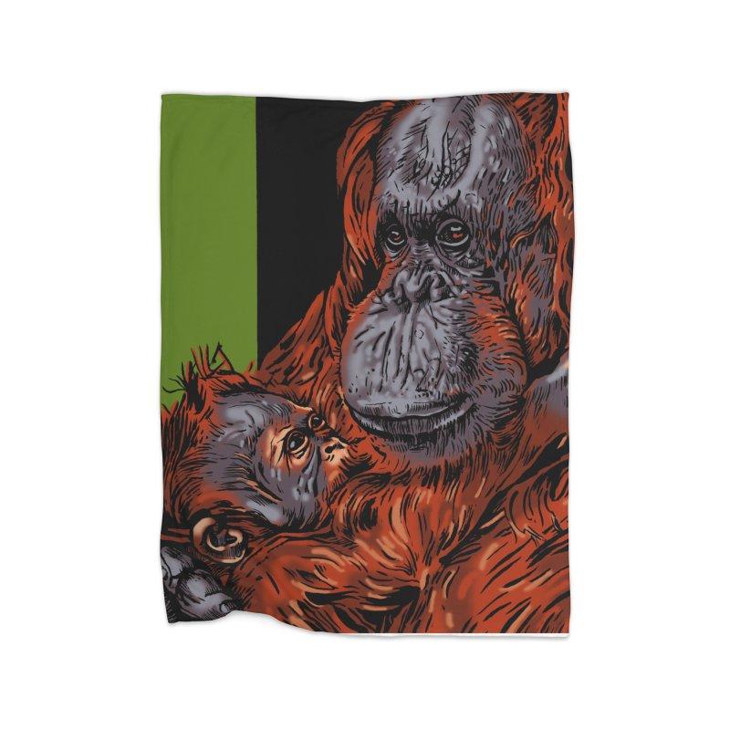 Schizo Pop Orangutan Home Blanket by schizo pop
