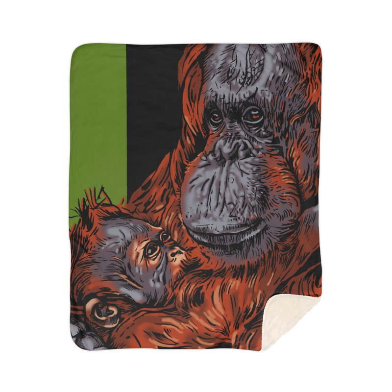 Schizo Pop Orangutan Home Sherpa Blanket Blanket by schizo pop