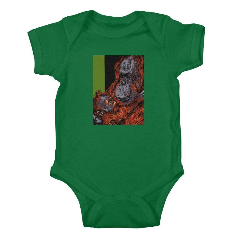 Schizo Pop Orangutan Kids Baby Bodysuit by schizo pop