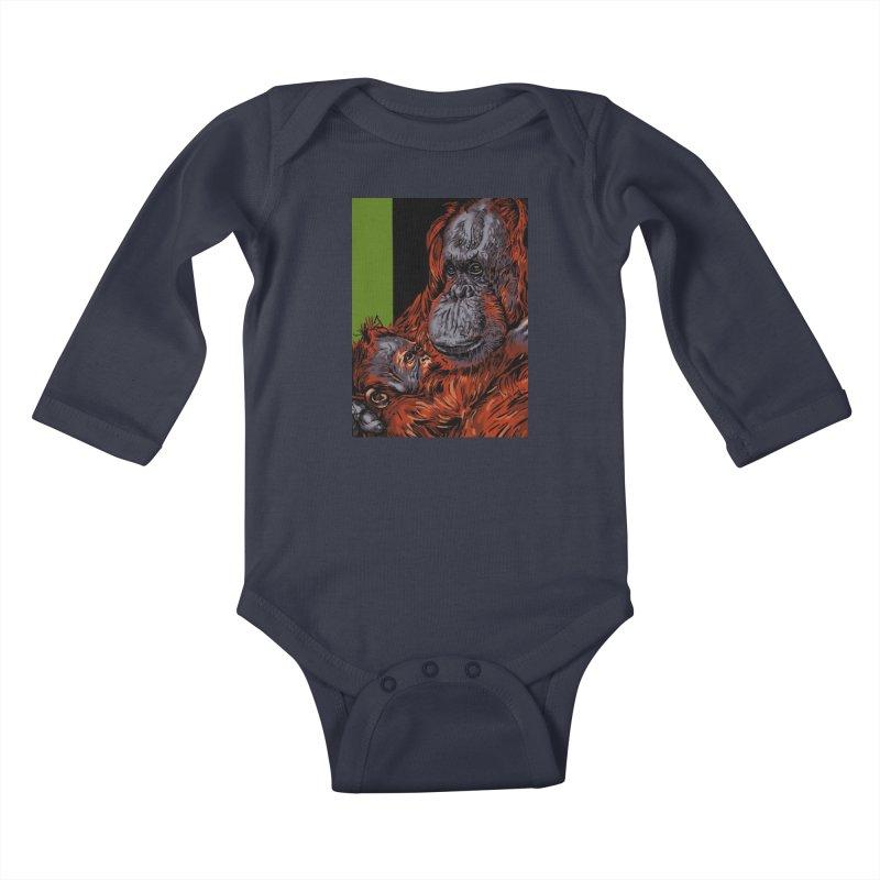 Schizo Pop Orangutan Kids Baby Longsleeve Bodysuit by schizo pop