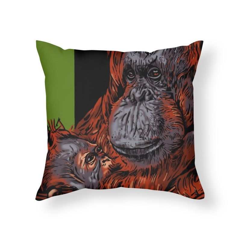 Schizo Pop Orangutan Home Throw Pillow by schizo pop