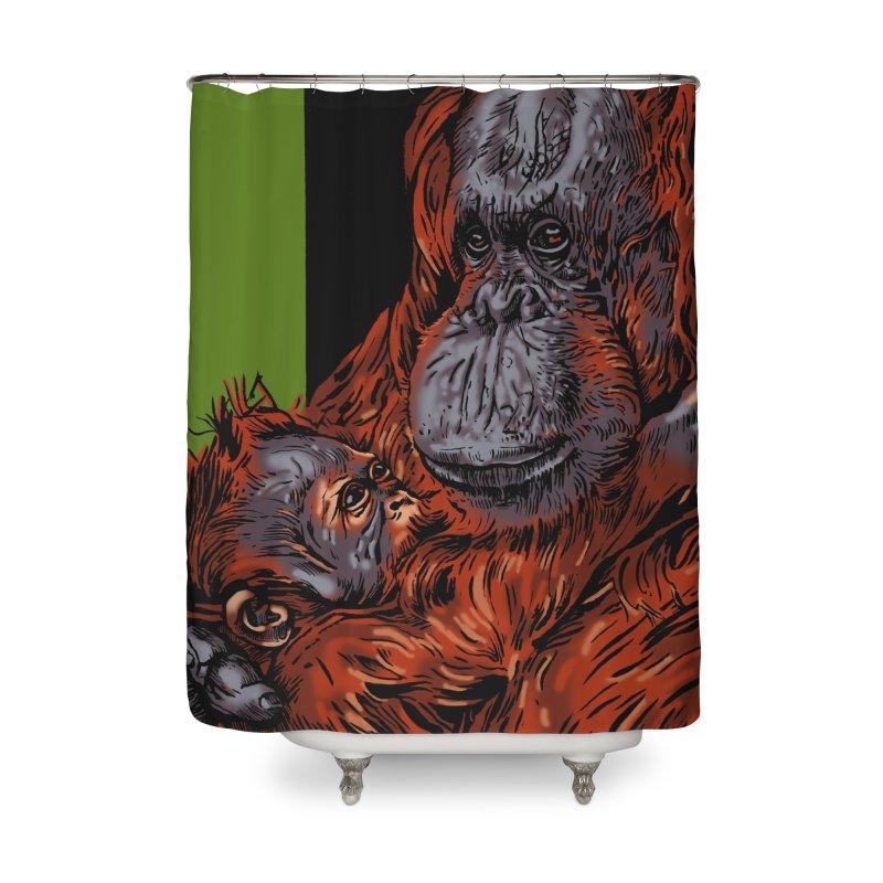 Schizo Pop Orangutan Home Shower Curtain by schizo pop