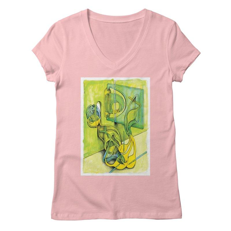 Drawing Blog No.5 - 14.12.13 Women's Regular V-Neck by schizo pop