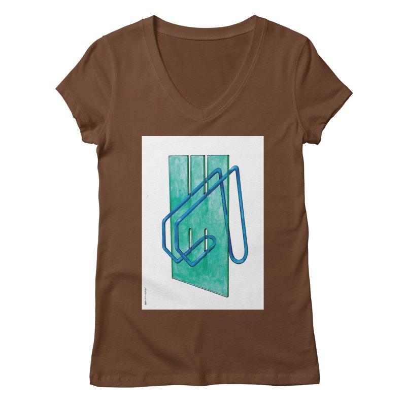 Drawing Blog No.5 - 10.4.14 Women's Regular V-Neck by schizo pop