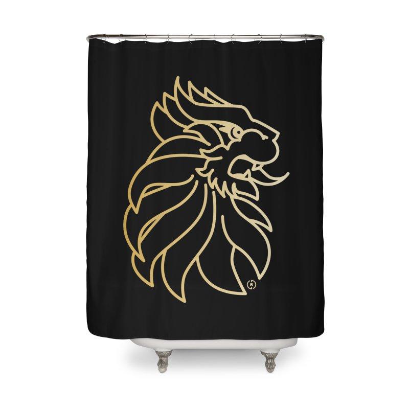 Roar Gold Home Shower Curtain by Shop by Ray de Guzman  •  raydeguzman.ca