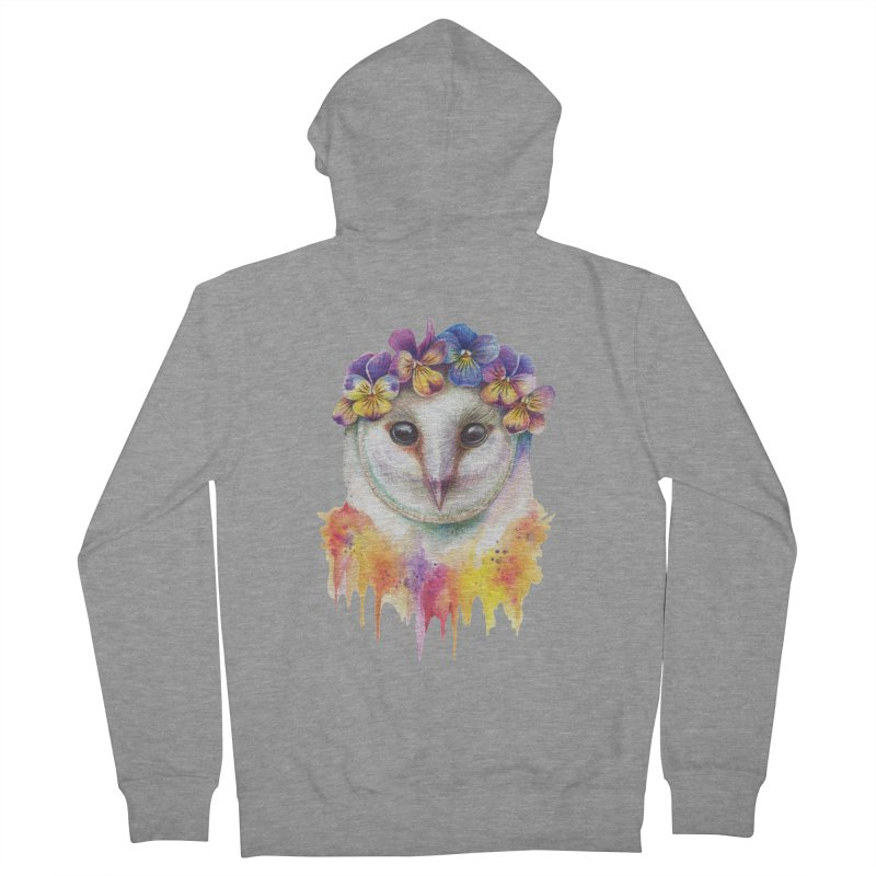 Spring Owl Women's French Terry Zip-Up Hoody by RayneColdkiss Art