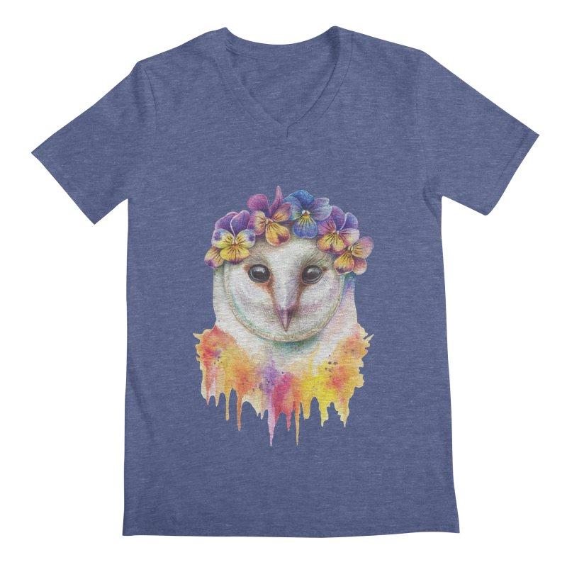 Spring Owl Men's V-Neck by RayneColdkiss Art