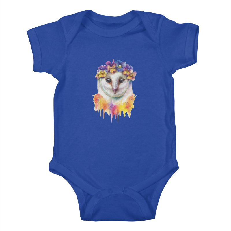 Spring Owl Kids Baby Bodysuit by RayneColdkiss Art