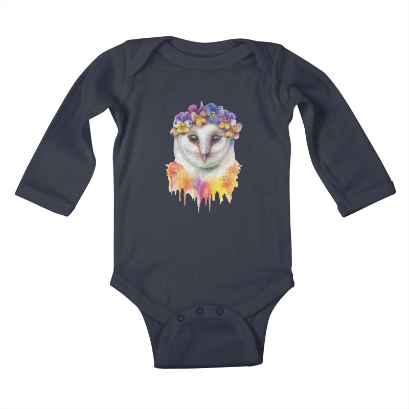Spring Owl Kids Baby Longsleeve Bodysuit by RayneColdkiss Art