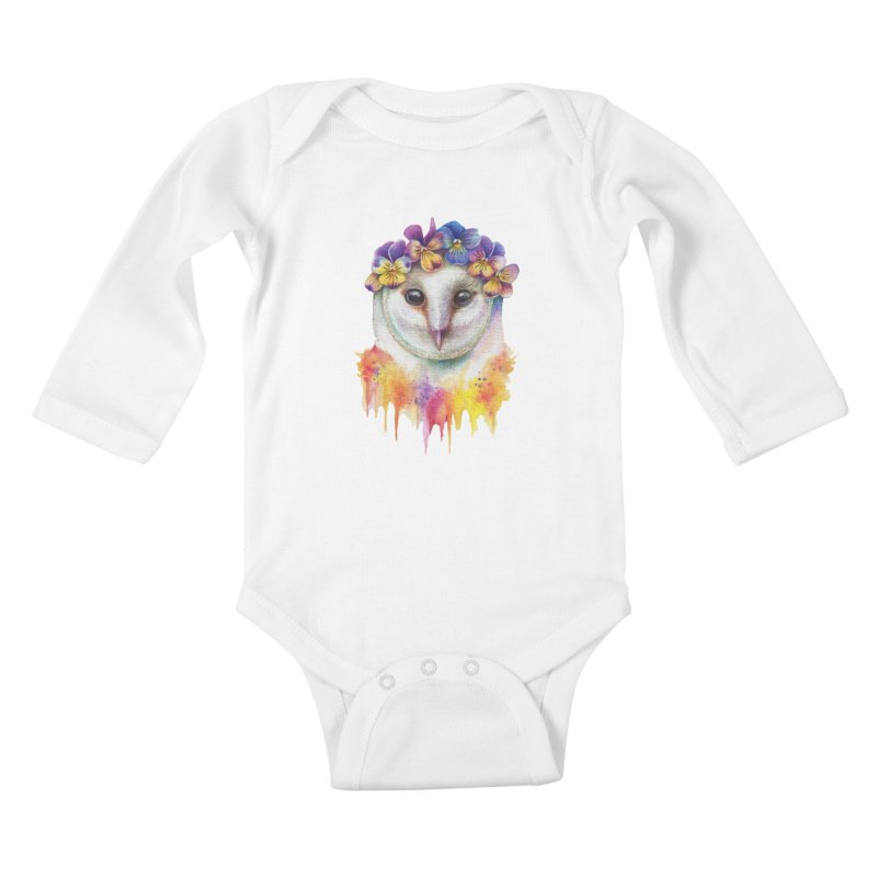 Spring Owl Kids Baby Longsleeve Bodysuit by RayneColdkiss Art