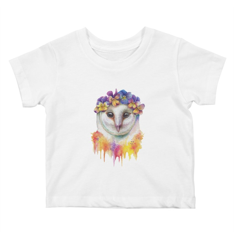 Spring Owl Kids Baby T-Shirt by RayneColdkiss Art