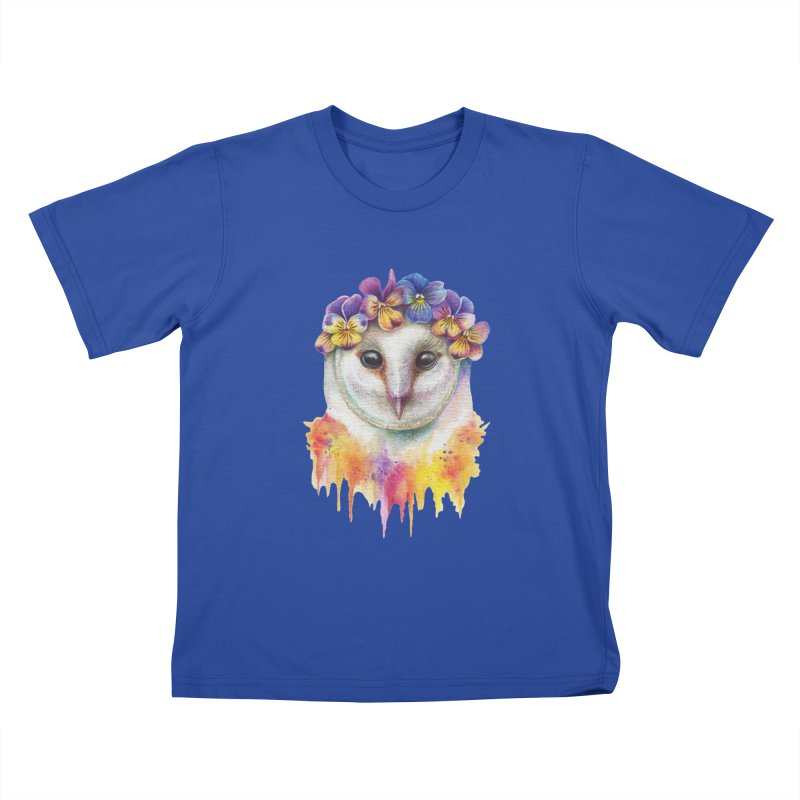 Spring Owl Kids T-Shirt by RayneColdkiss Art