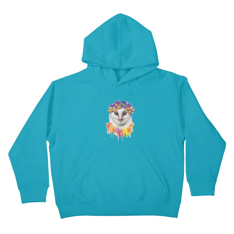 Spring Owl Kids Pullover Hoody by RayneColdkiss Art