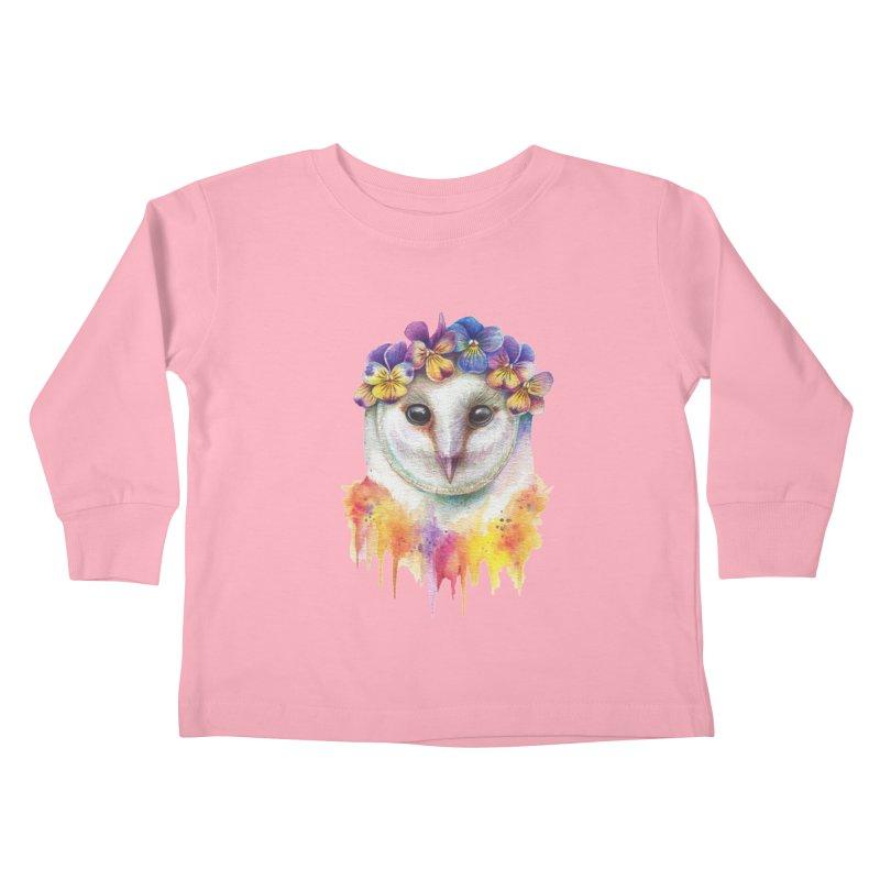 Spring Owl Kids Toddler Longsleeve T-Shirt by RayneColdkiss Art