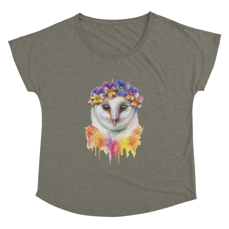 Spring Owl Women's Dolman Scoop Neck by RayneColdkiss Art