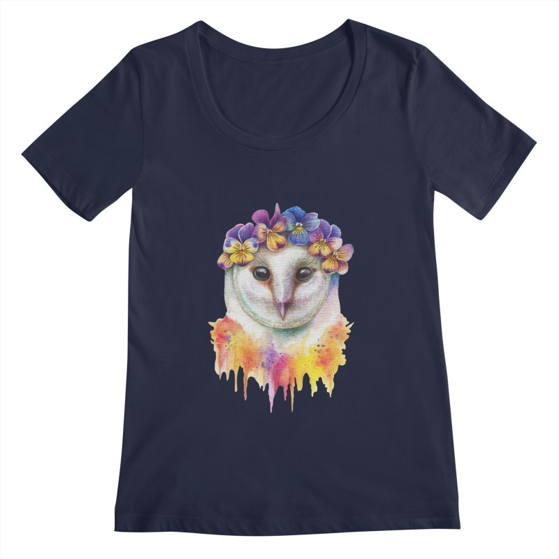 Spring Owl Women's Scoopneck by RayneColdkiss Art