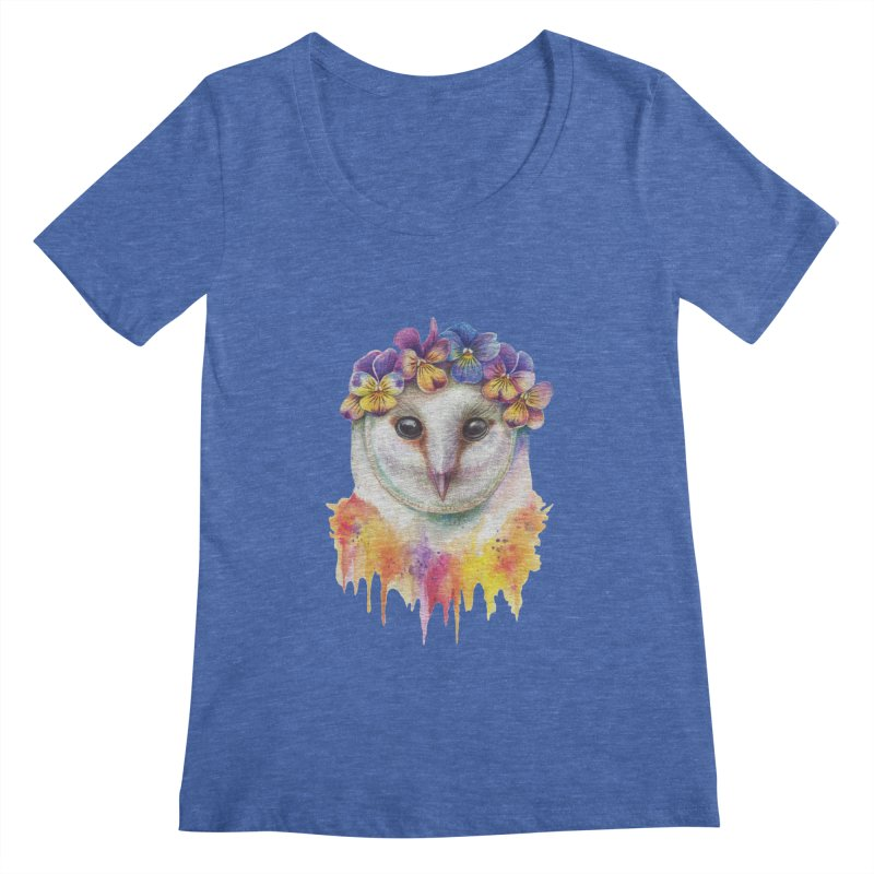 Spring Owl Women's Regular Scoop Neck by RayneColdkiss Art
