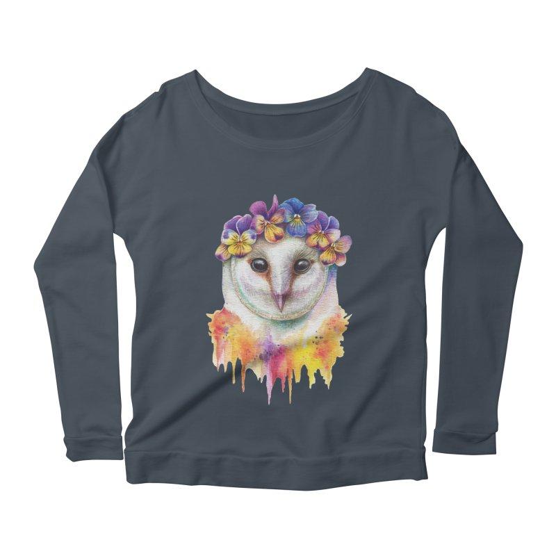 Spring Owl Women's Longsleeve Scoopneck  by RayneColdkiss Art