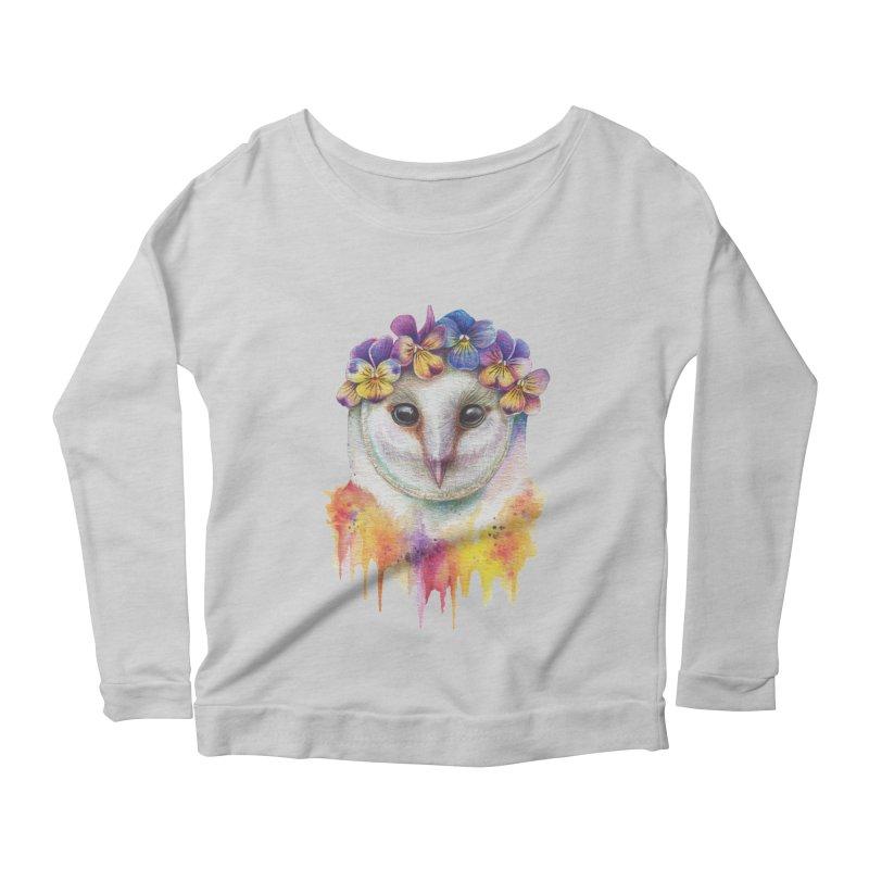Spring Owl Women's Scoop Neck Longsleeve T-Shirt by RayneColdkiss Art