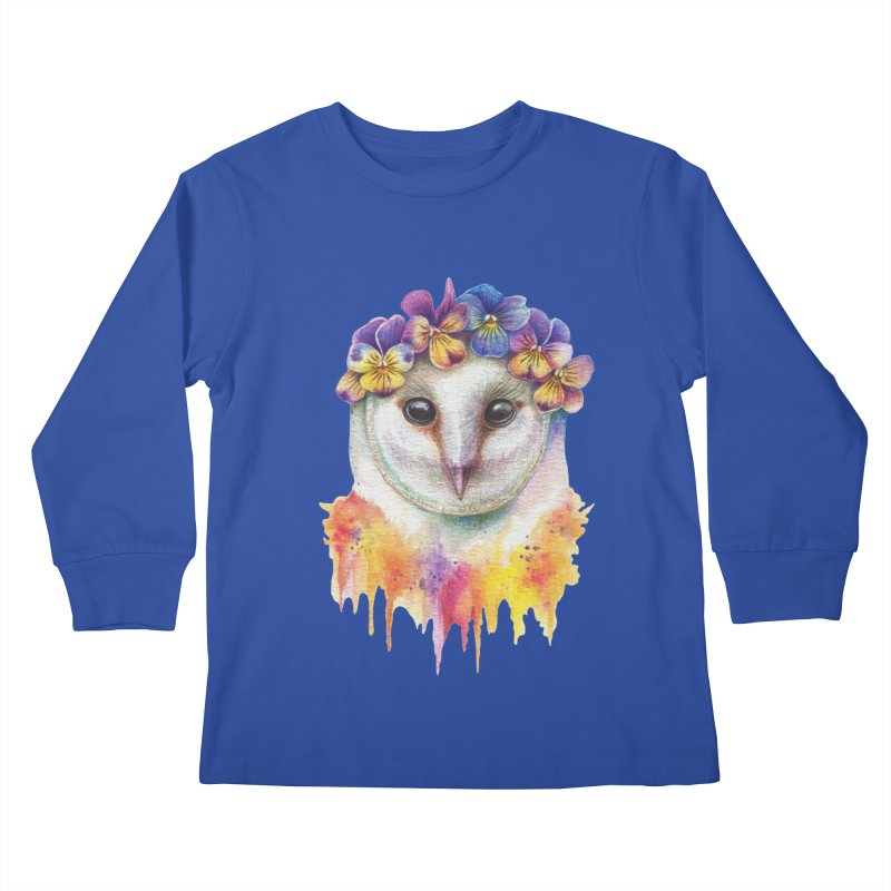 Spring Owl Kids Longsleeve T-Shirt by RayneColdkiss Art
