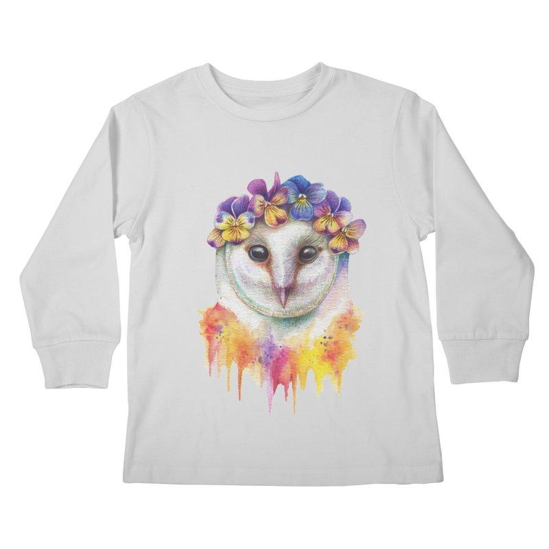 Spring Owl Kids Longsleeve T-Shirt by RayneColdkiss Art