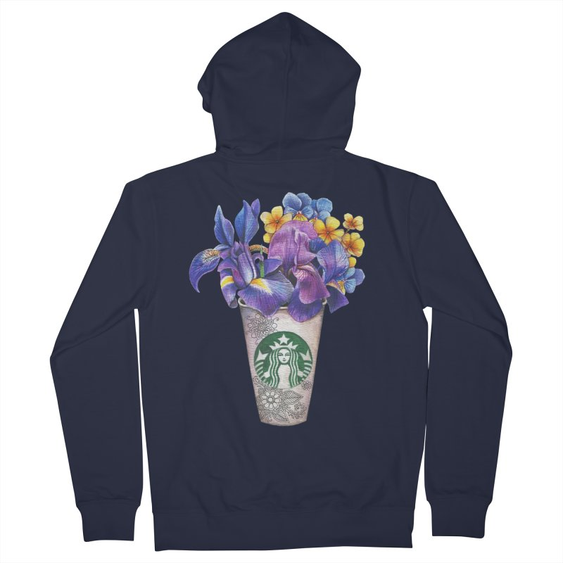 Starbucks Men's French Terry Zip-Up Hoody by RayneColdkiss Art