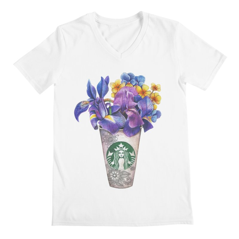 Starbucks Men's Regular V-Neck by RayneColdkiss Art
