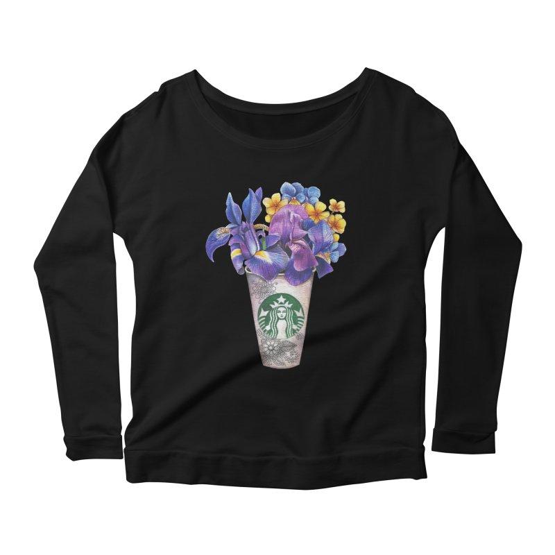 Starbucks Women's Scoop Neck Longsleeve T-Shirt by RayneColdkiss Art