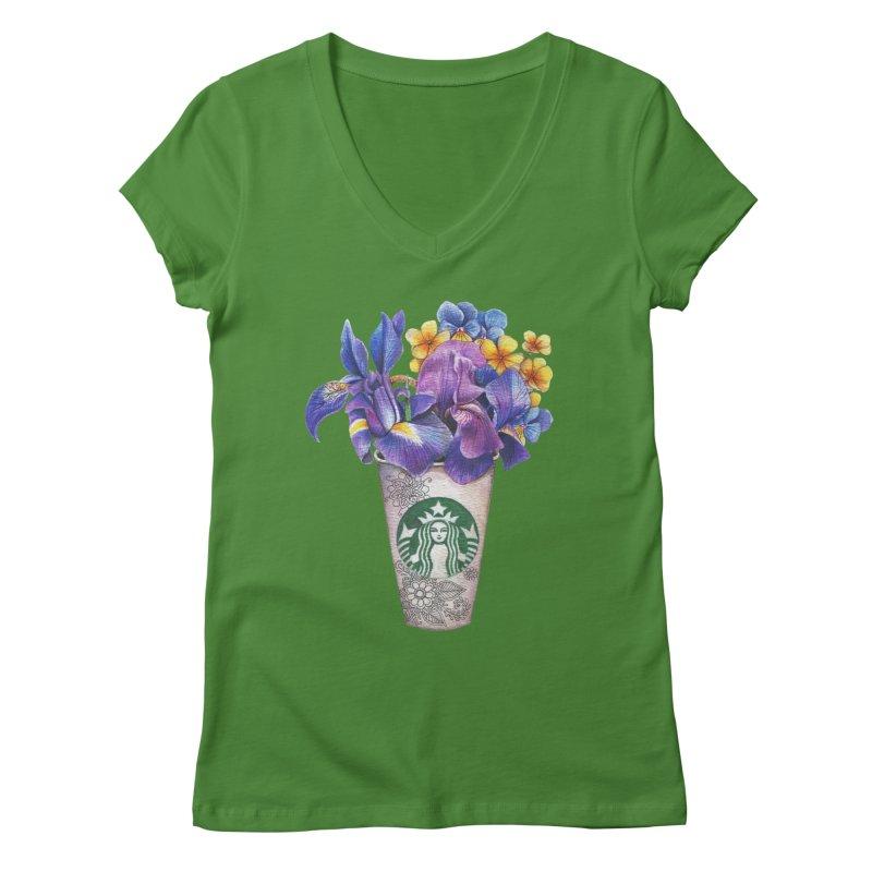 Starbucks Women's Regular V-Neck by RayneColdkiss Art