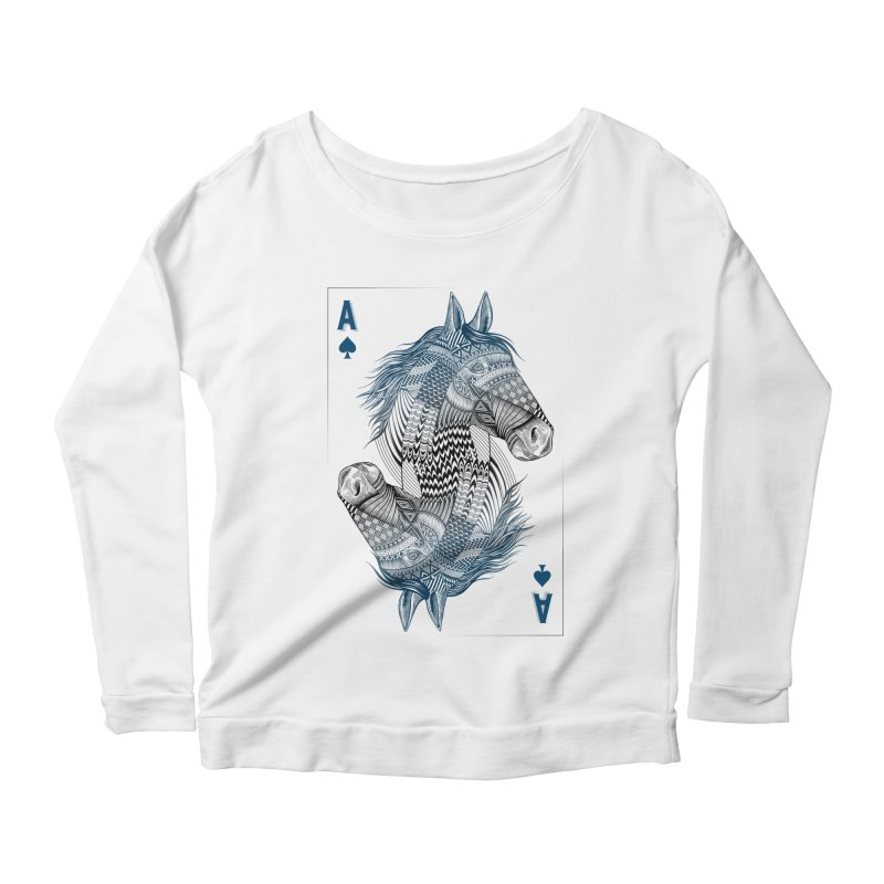 Horse Geo (Aces) Women's Longsleeve Scoopneck  by rcaldwell's Shop