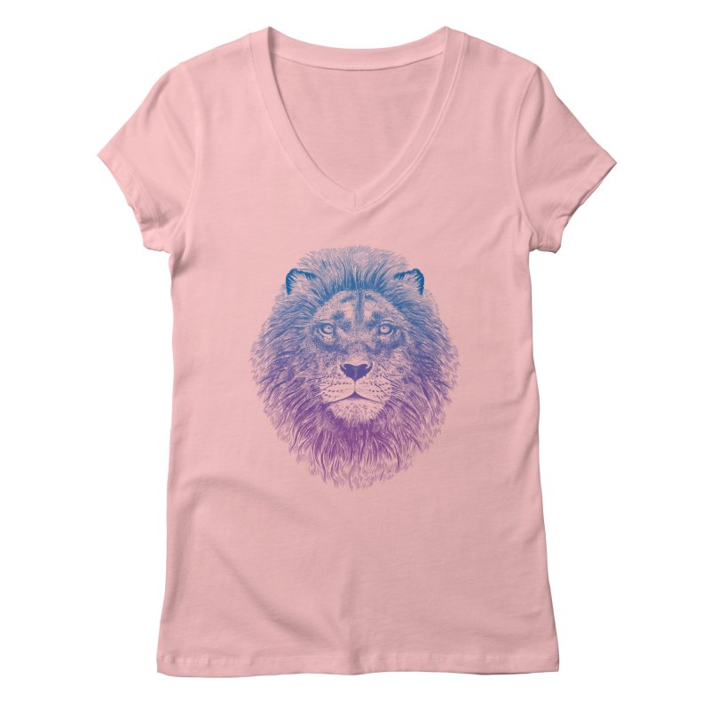 Face of a Lion Women's V-Neck by rcaldwell's Shop