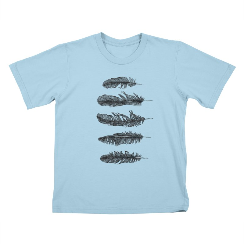 Lucky Five Feathers Kids T-shirt by rcaldwell's Shop