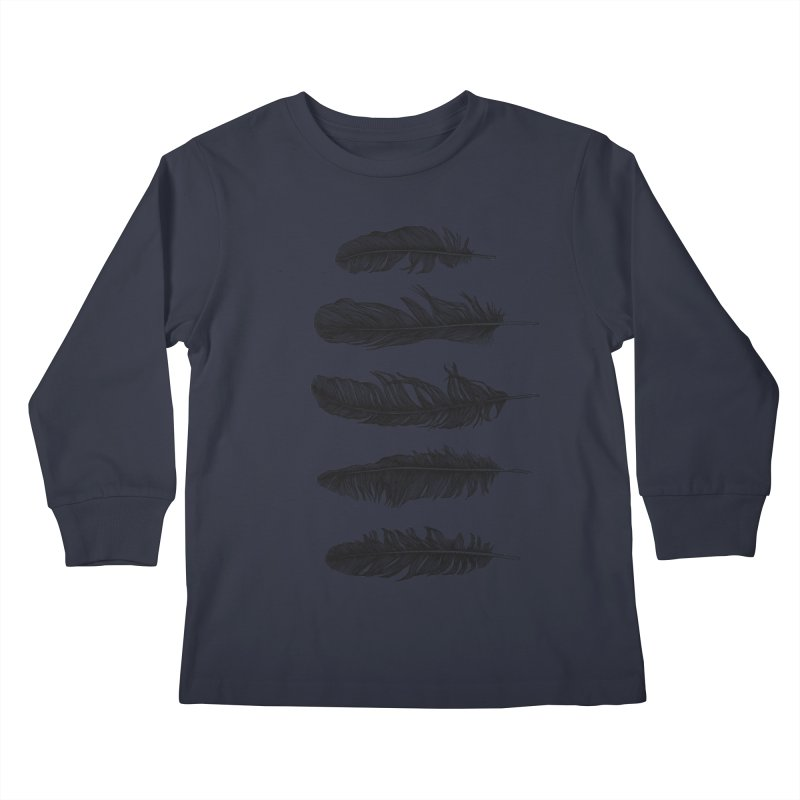 Lucky Five Feathers Kids Longsleeve T-Shirt by rcaldwell's Shop