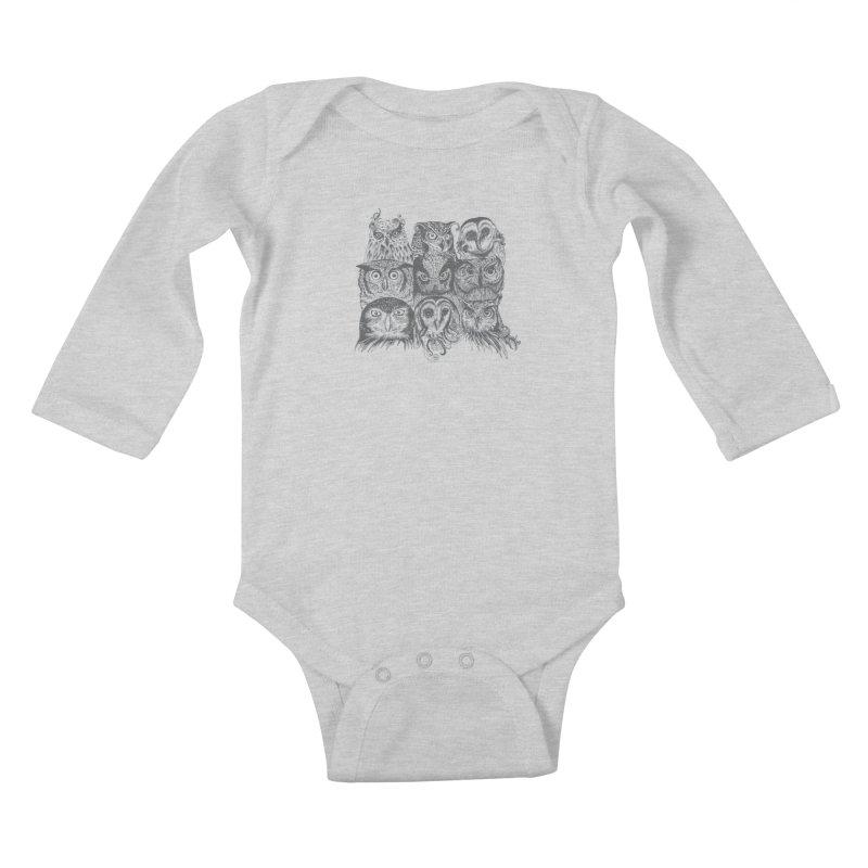 Nine Wise Owls Kids Baby Longsleeve Bodysuit by rcaldwell's Shop