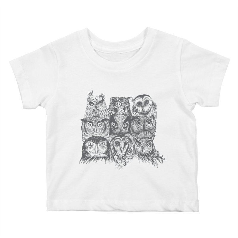 Nine Wise Owls Kids Baby T-Shirt by rcaldwell's Shop