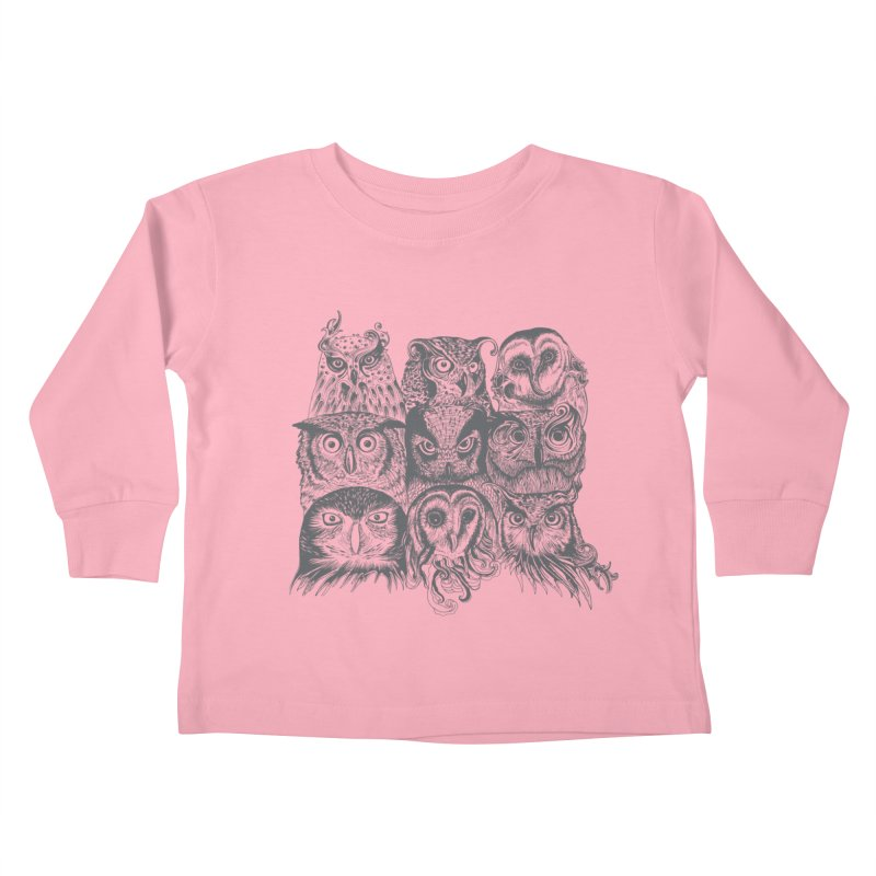 Nine Wise Owls Kids Toddler Longsleeve T-Shirt by rcaldwell's Shop
