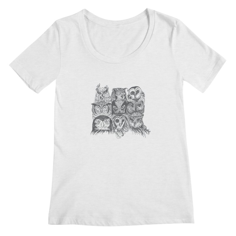 Nine Wise Owls Women's Scoopneck by rcaldwell's Shop