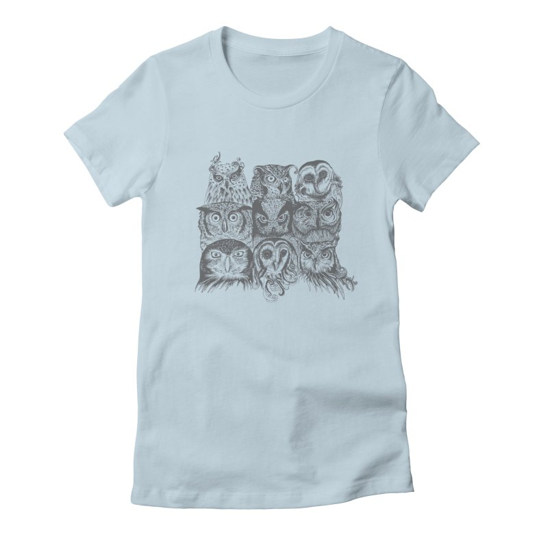 Nine Wise Owls Women's Fitted T-Shirt by rcaldwell's Shop