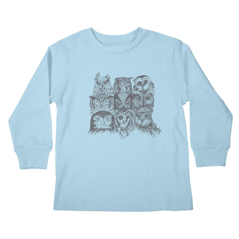 Nine Wise Owls Kids Longsleeve T-Shirt by rcaldwell's Shop