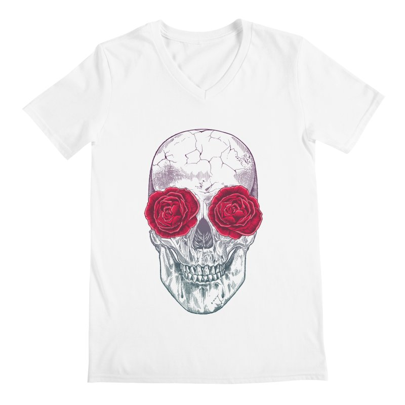 Skull and Roses Men's V-Neck by rcaldwell's Shop