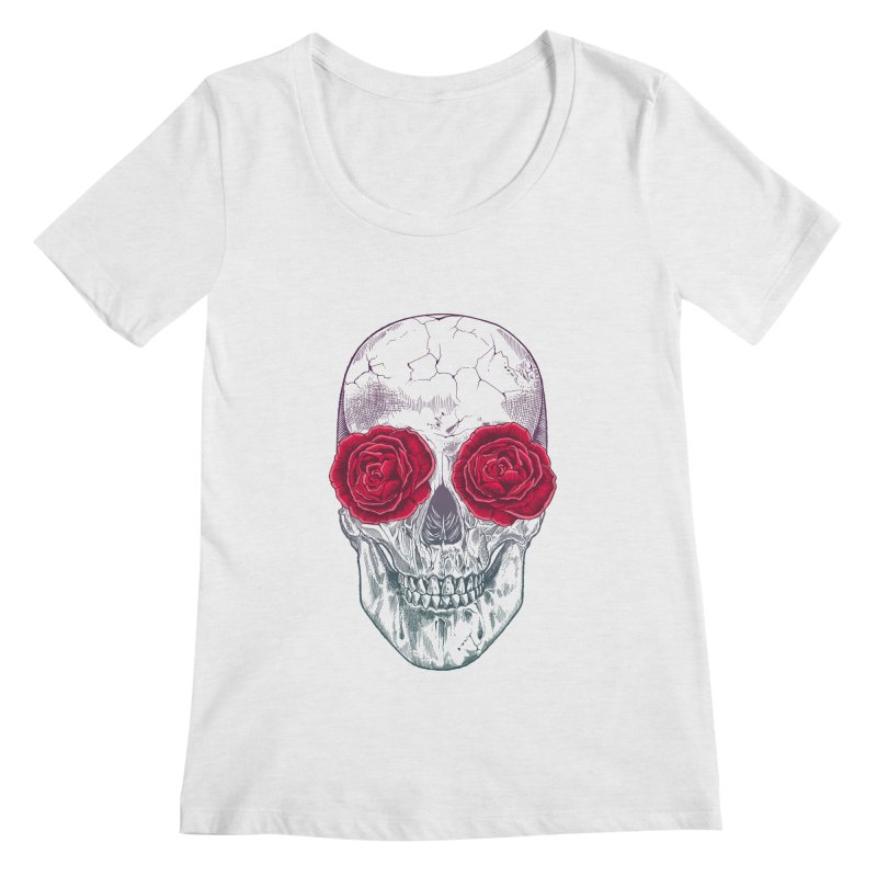 Skull and Roses Women's Scoopneck by rcaldwell's Shop