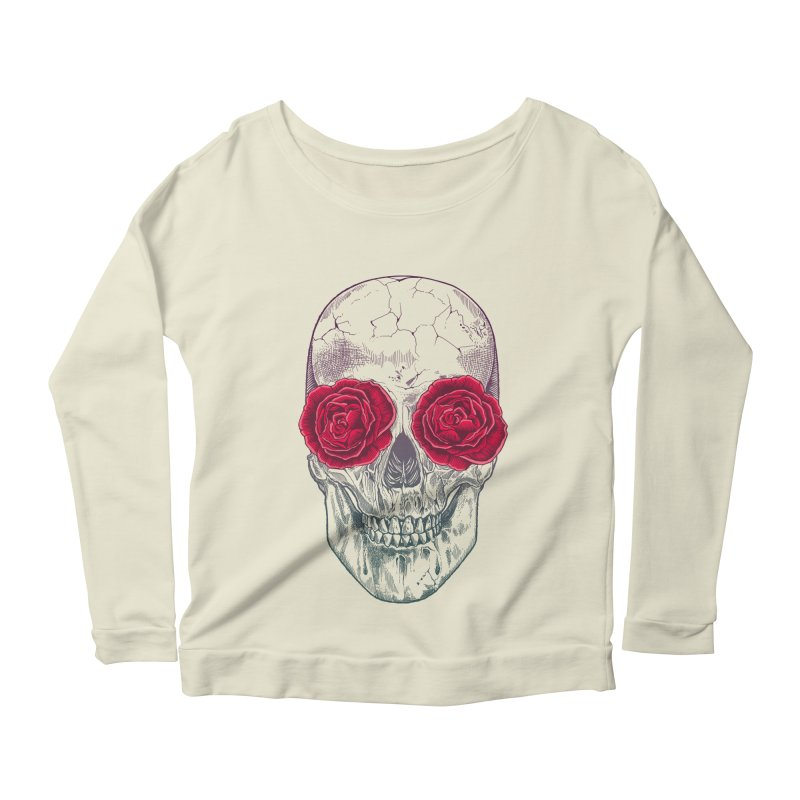 Skull and Roses Women's Longsleeve Scoopneck  by rcaldwell's Shop