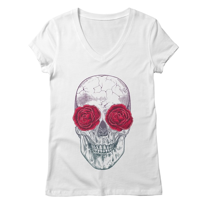 Skull and Roses Women's V-Neck by rcaldwell's Shop