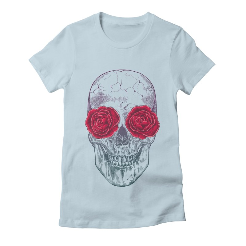 Skull and Roses Women's Fitted T-Shirt by rcaldwell's Shop