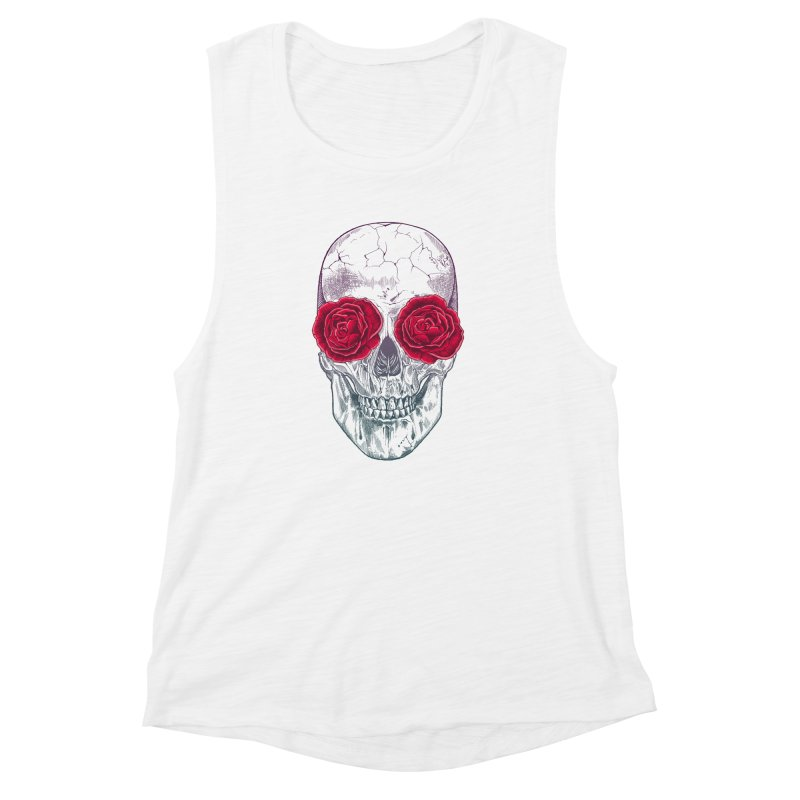 Skull and Roses Women's Muscle Tank by rcaldwell's Shop