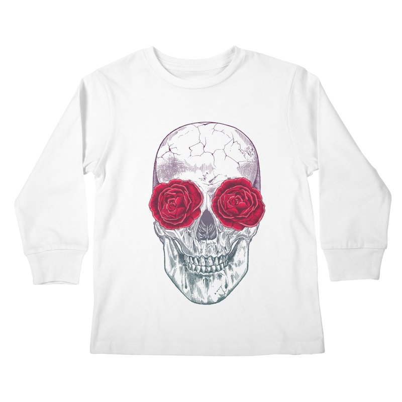 Skull and Roses Kids Longsleeve T-Shirt by rcaldwell's Shop